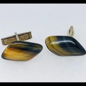 Other - Tiger's Eye Gemstone Men Jewelry vintage cufflinks